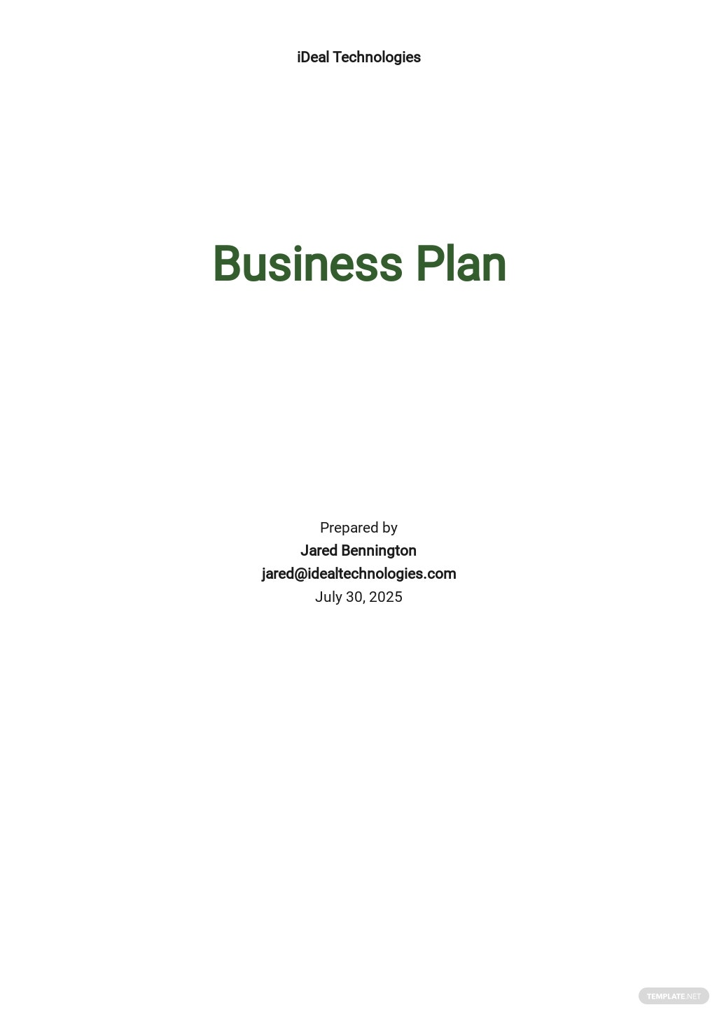 Sample Software Business Plan Template