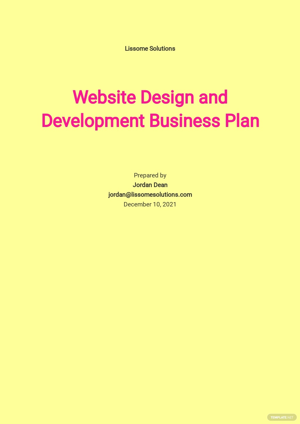 Website Design and Development Business Plan Template