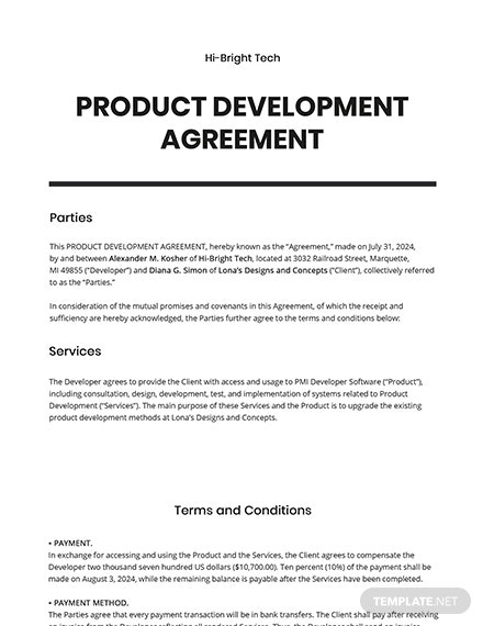 Product Development Agreement Template