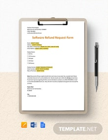 Software Refund Request Form Template
