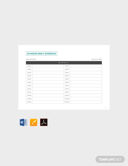 Free 24 Hour Daily Schedule Template