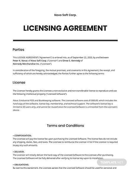 Free Basic Software License Agreement Template