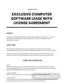 Exclusive Computer Software Lease with License Agreement Template