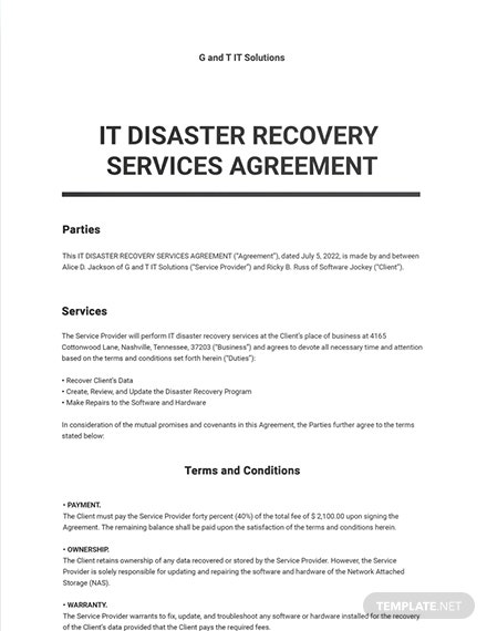 IT Disaster Recovery Services Agreement Template