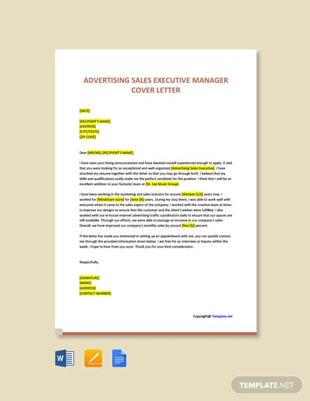 Free Advertising Sales Executive Manager Cover Letter Template