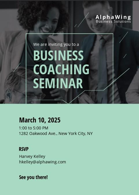Business Coach Invitation Template