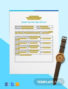 System Test Plan Sign-off Form Template
