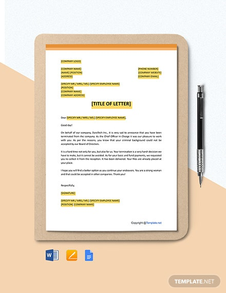 Post-Separation Letter Template