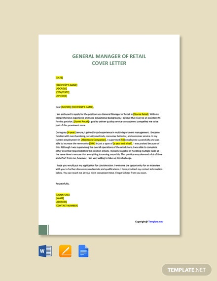 Free General Manager of Retail Cover Letter Template