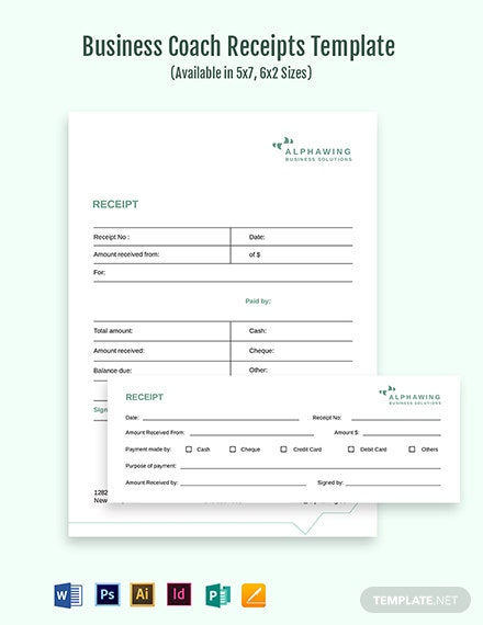 Business Coach Receipt Template
