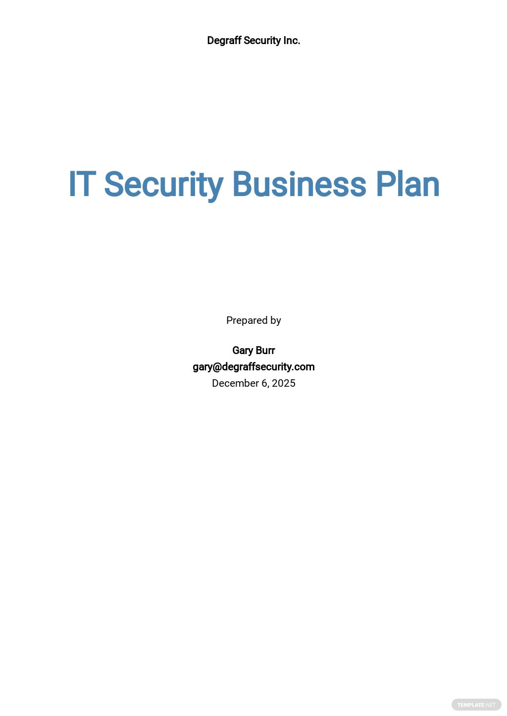 IT Security Business Plan Template