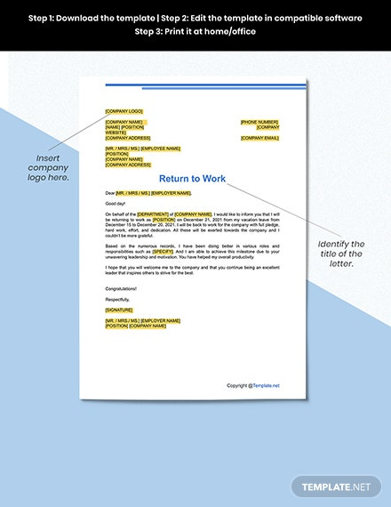 Free Return to Work Letter Format