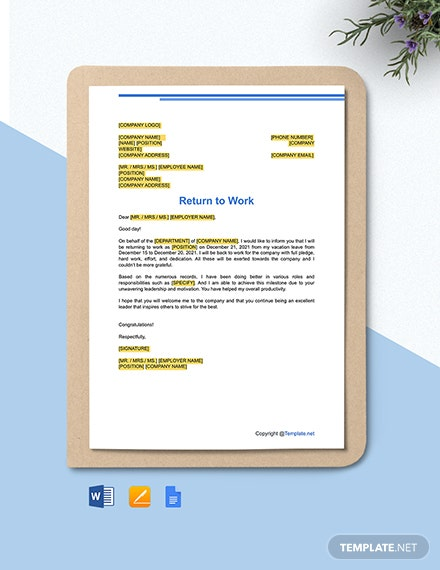 Free Return to Work Letter Template