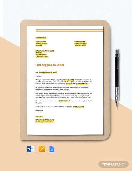 Short Acceptance of Resignation from an Employee Template
