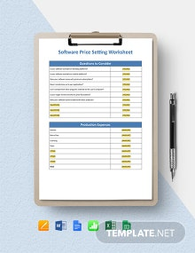 Software Price Setting Worksheet Template