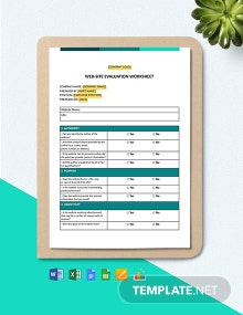 Web-Site Evaluation Worksheet Template