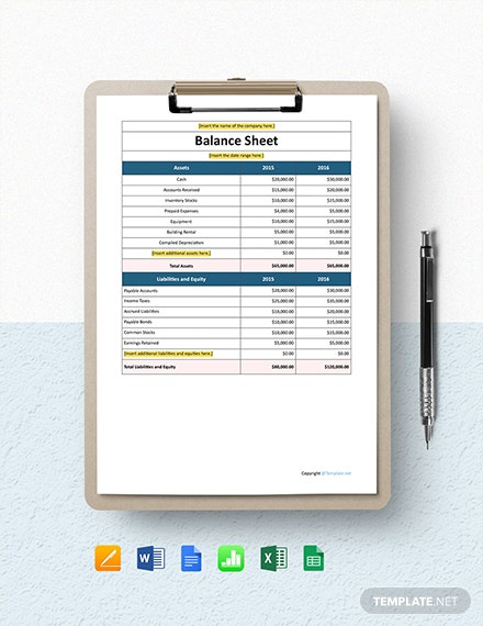 Free Simple IT Company Balance Sheet Template