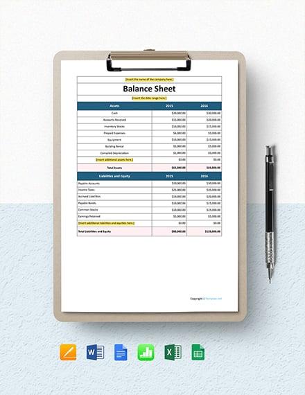 Free Simple IT Company Balance Sheet