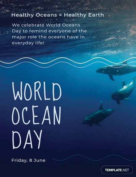 Free World Ocean Day Invitation Template