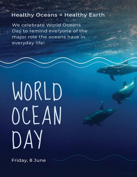 Free World Ocean Day Invitation Template