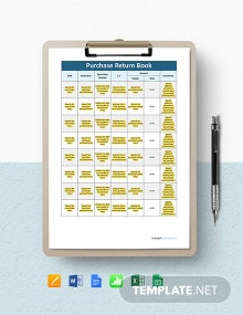 Free Purchase Return Book Template