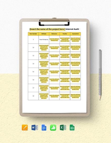 Project Internal Audit Template