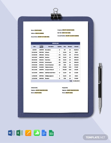 Expense Log Template