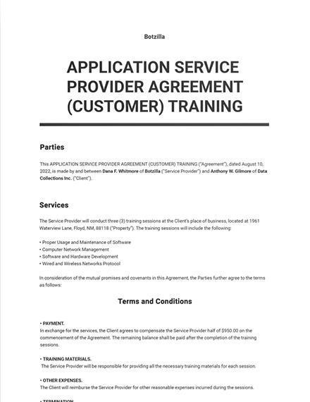 Application Service Provider Agreement (Customer) Training Template