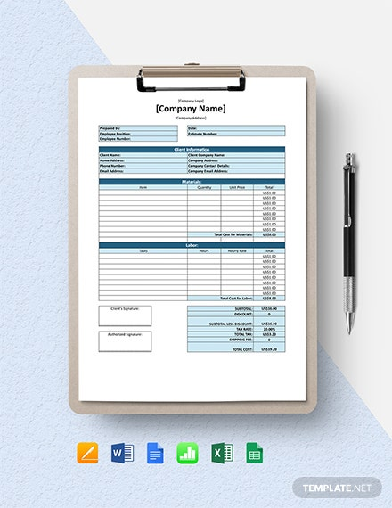 Free Simple Software Estimate Template