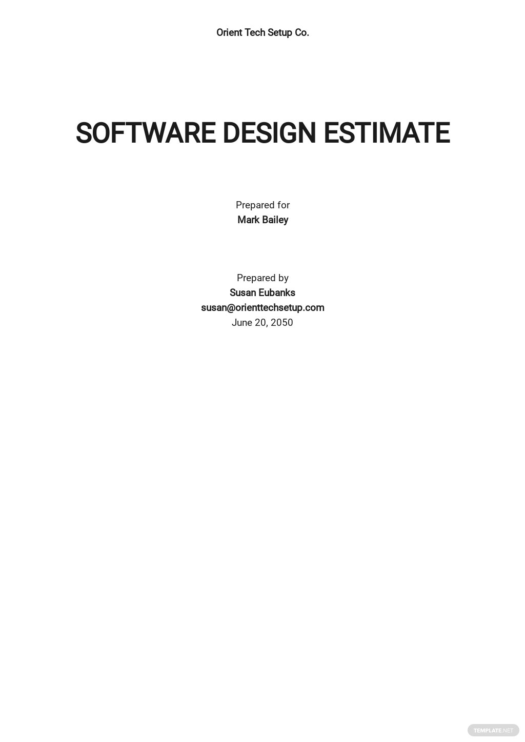 Simple Software Estimate Template