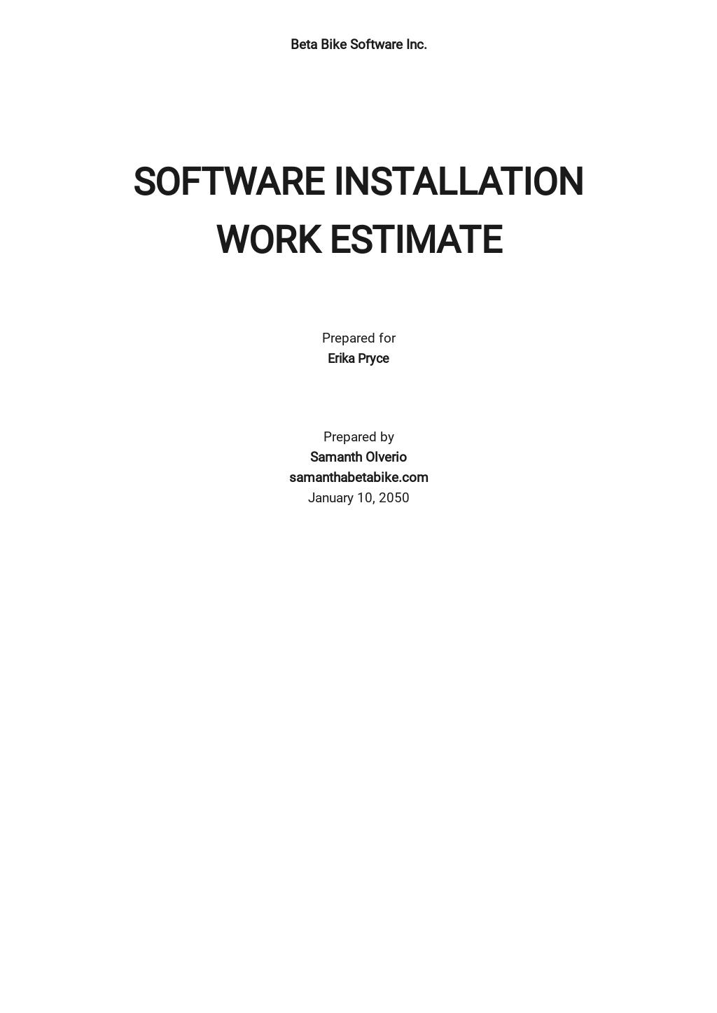 Software Work Estimate Template