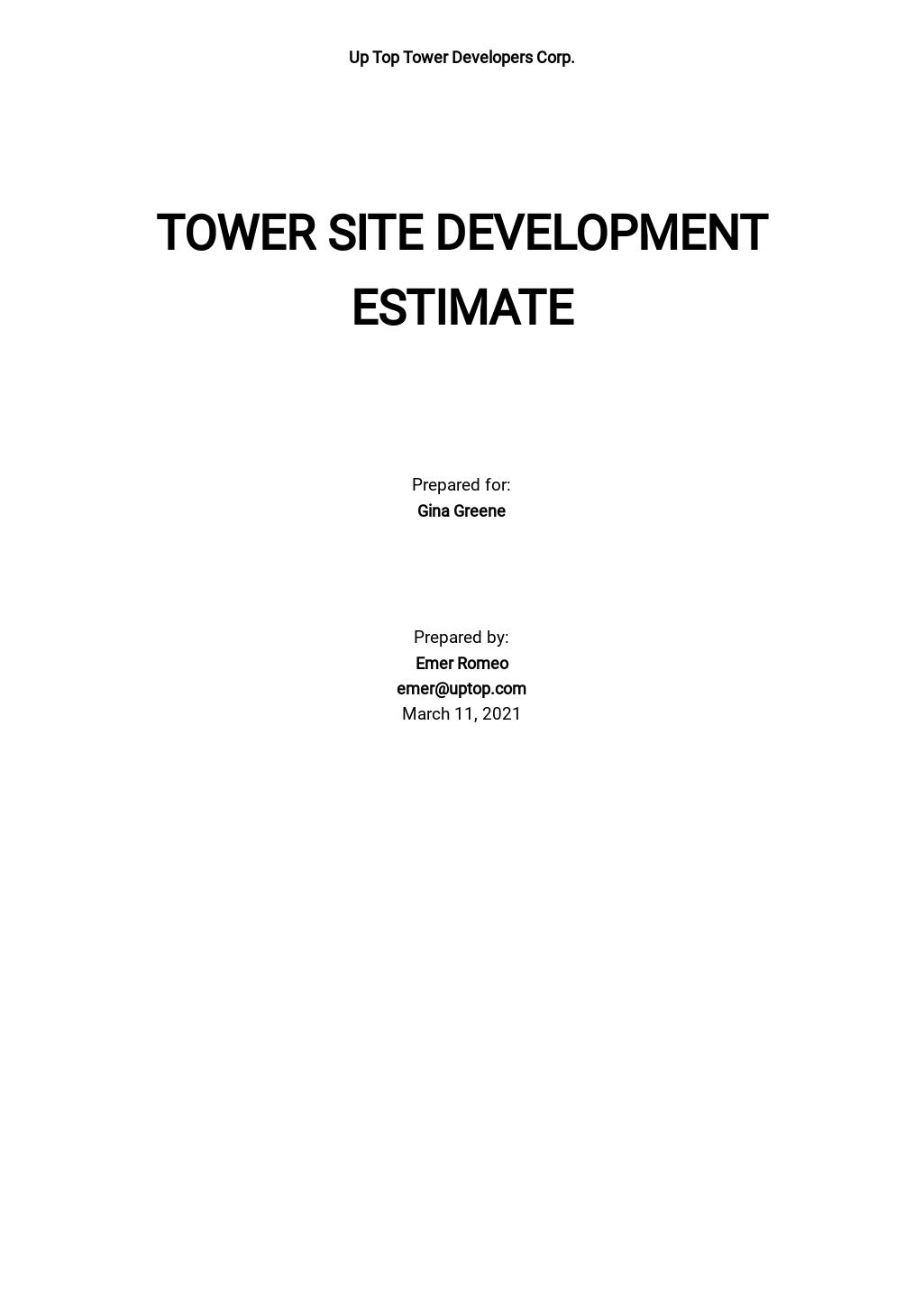 Development Estimate Template