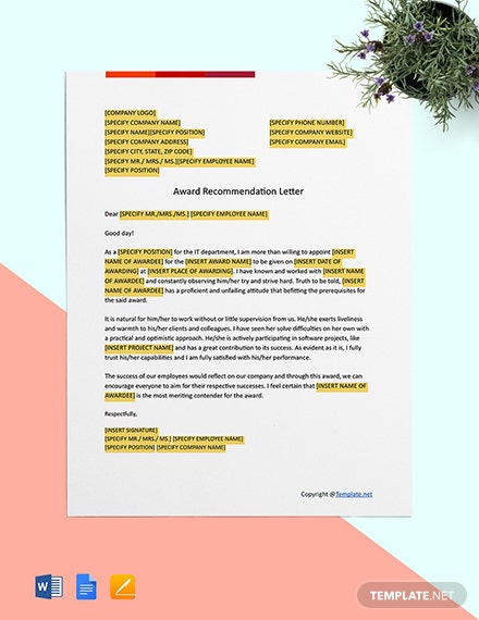 Award Recommendation Letter Template