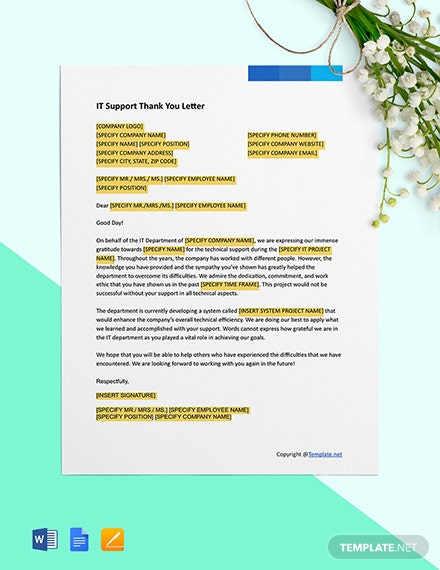 IT Support Thank You Letter Template