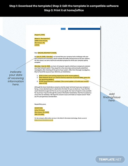 Letter of Transmittal for Technical Report Format