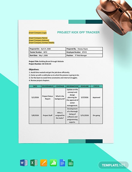 Project Kick Off Tracker Template