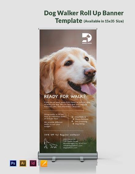 Dog Walker Roll Up Banner Template