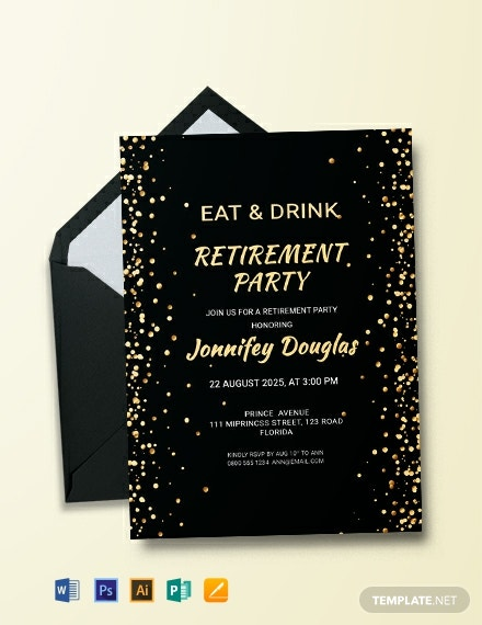 Free Surprise Retirement Party Invitation Template Word Psd Indesign Apple Pages
