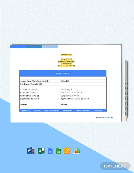 Free Simple IT Time Sheet Format