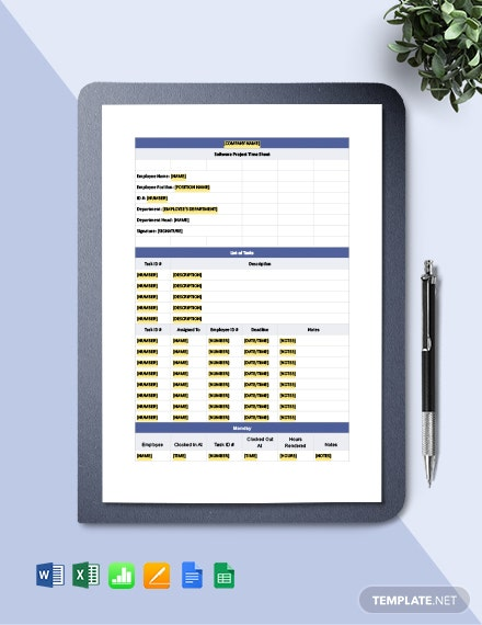 Software Project Time Sheet Template