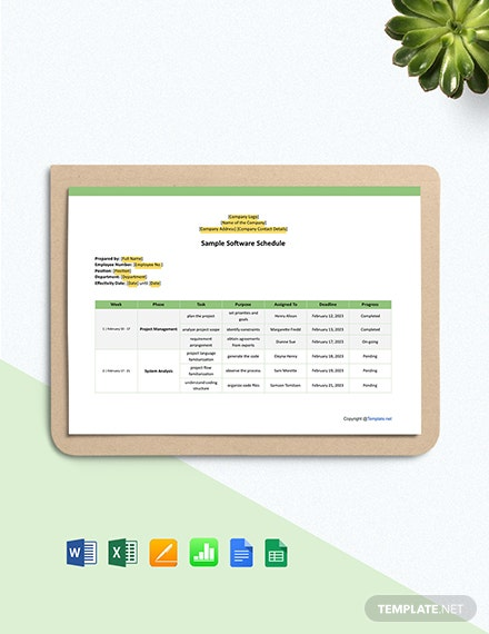 Sample Software Schedule Template