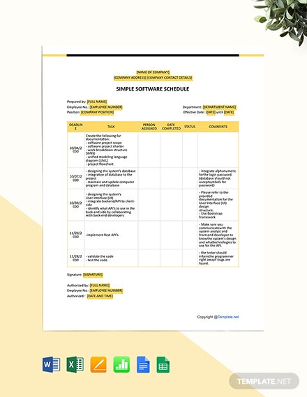 Simple Software Schedule Template