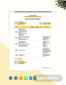 Free Simple Software Schedule Template
