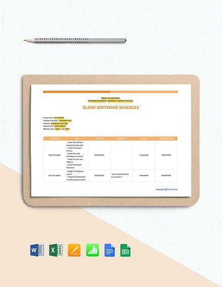 Blank Software Schedule Template