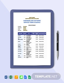 Hardware and Software Services Terms Schedule Template