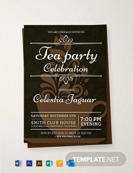 Free Tea Party Invitation Template