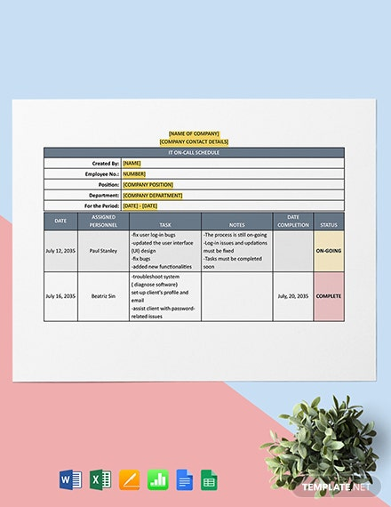 IT On-Call Schedule Template