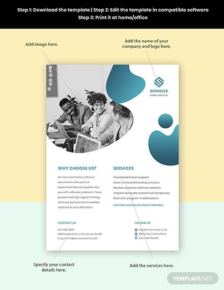 Software Consultant Flyer Template  - Google Docs, Illustrator, InDesign, Word, Apple Pages, PSD