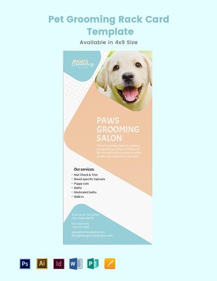 Pet Grooming Rack Card Template