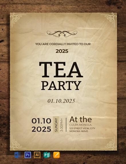 Free Tea Party Invitation Card Template